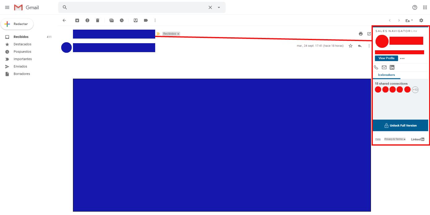 Extensión para Chrome LinkedIn Sales Navigator